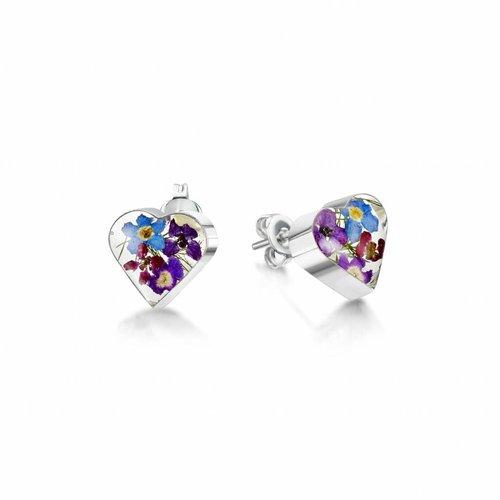 Shrieking Violet Botones de corazón flor mezclada plata