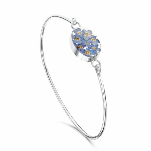 Shrieking Violet Oval forgetmenot Bangle silver