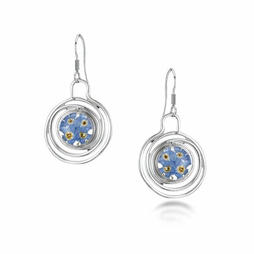 Shrieking Violet Spiral forget me not  round earrings silver