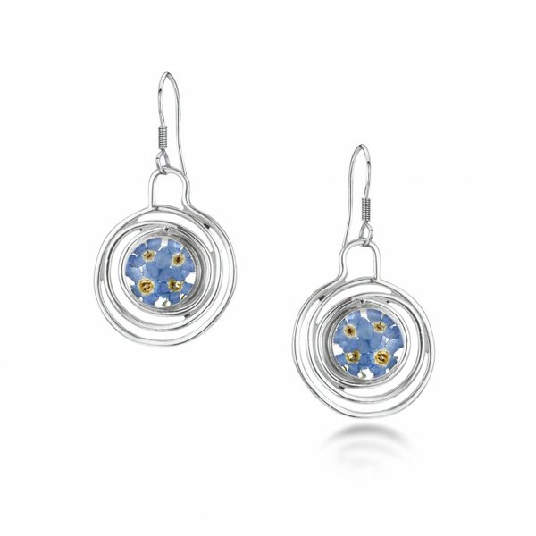 Spiral forget me not  round earrings silver