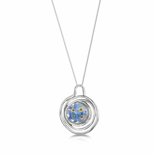 Shrieking Violet Forget me not round pendant spiral silver