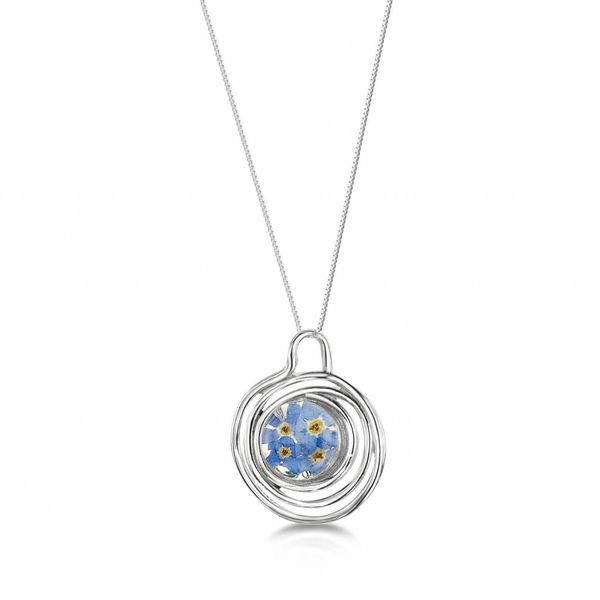 Forget me not round pendant spiral silver