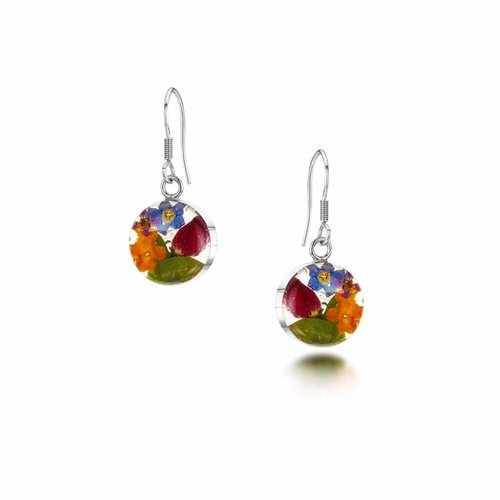 Shrieking Violet Round mixed flower drop earrings silver 094