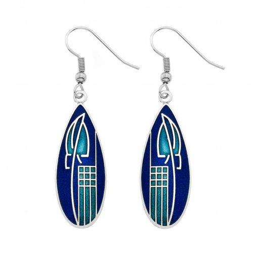 Sea Gems Mackintosh Tulip teardrop earrings blue