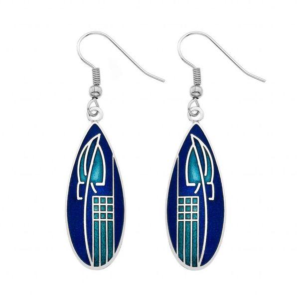 Mackintosh Tulip teardrop earrings blue