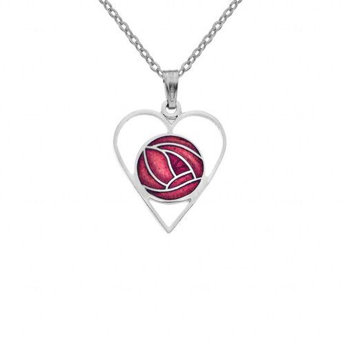 Sea Gems Mackintosh Rose Heart cut out necklace red