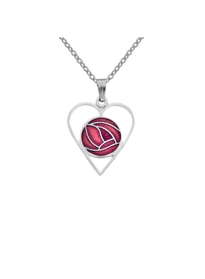 Mackintosh Rose Heart cut out necklace red