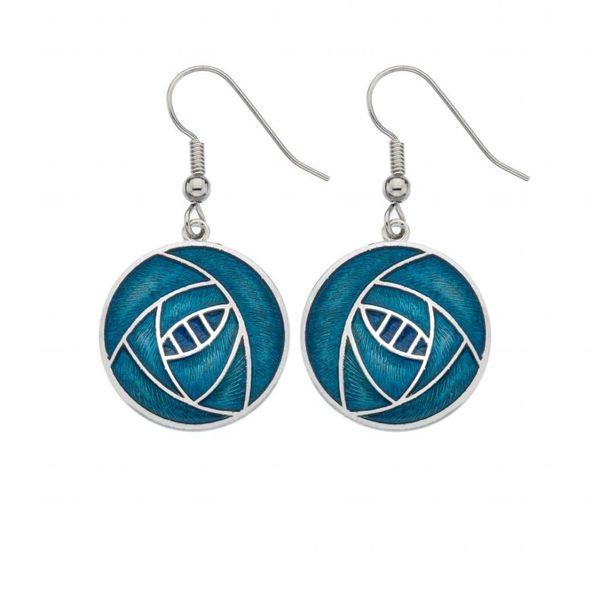 Mackintosh Rose Round earrings Turquoise