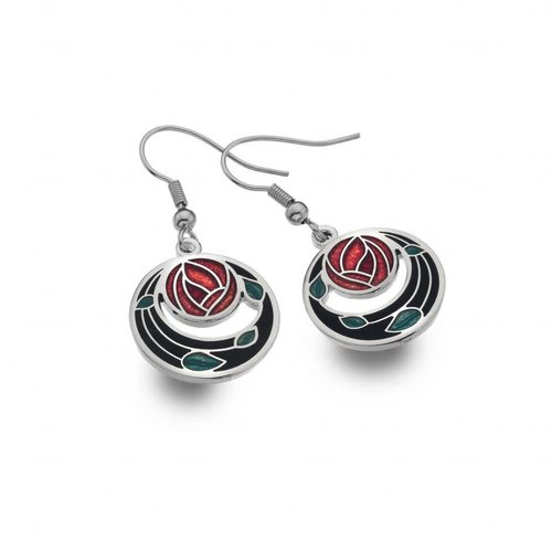 Sea Gems Mackintosh Rose Coils cut out earrings  black