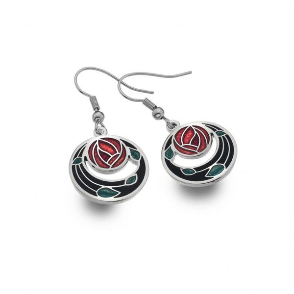 Mackintosh Rose Coils cut out earrings  black