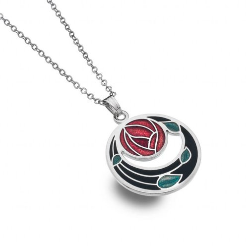 Sea Gems Mackintosh Rose Coils cut out necklace  black