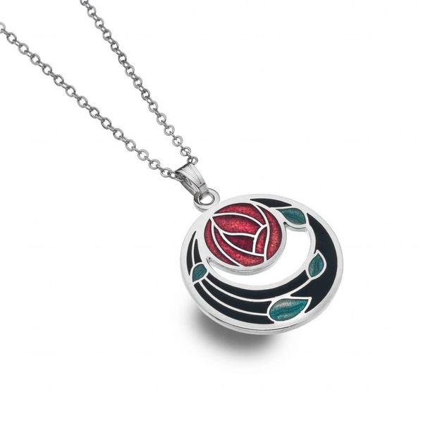 Mackintosh Rose Coils cut out necklace  black
