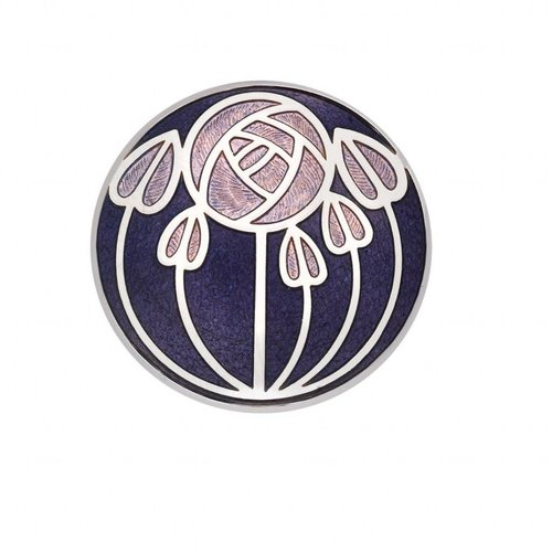Sea Gems Mackintosh Rose and leaves Brooch purple