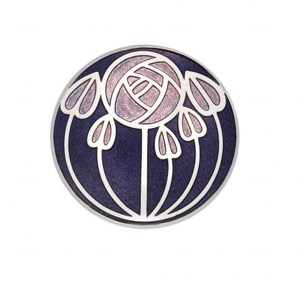 Mackintosh Rose and leaves Brooch purple
