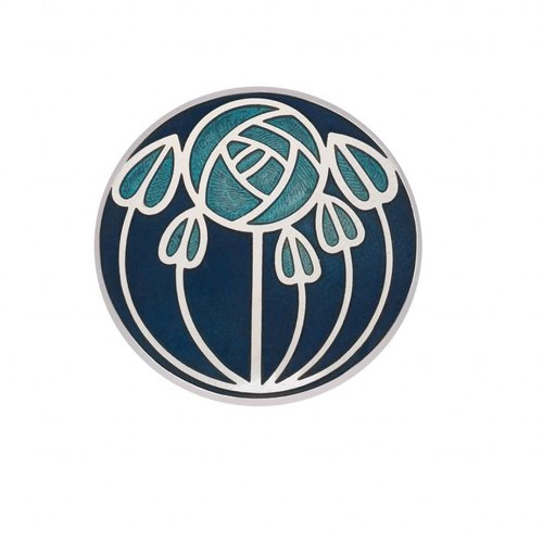 Sea Gems Mackintosh Rose and leaves Brooch blue