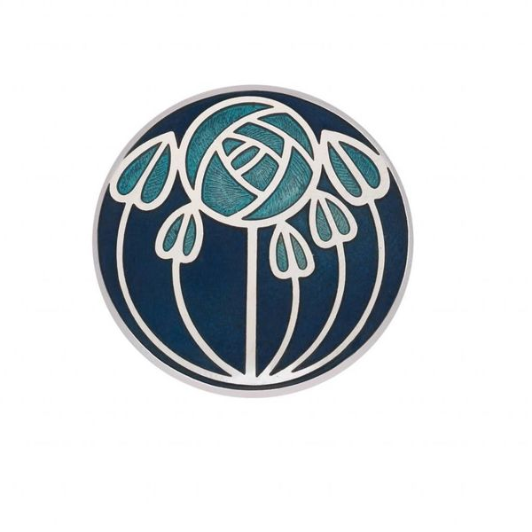 Mackintosh Rose and leaves Brooch blue