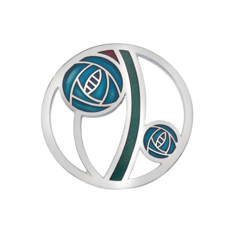 Sea Gems Mackintosh Rose cut out Brooch turquoise