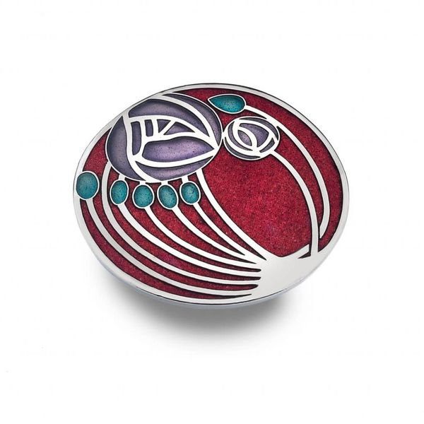Mackintosh Rose and buds Large Brooch Red