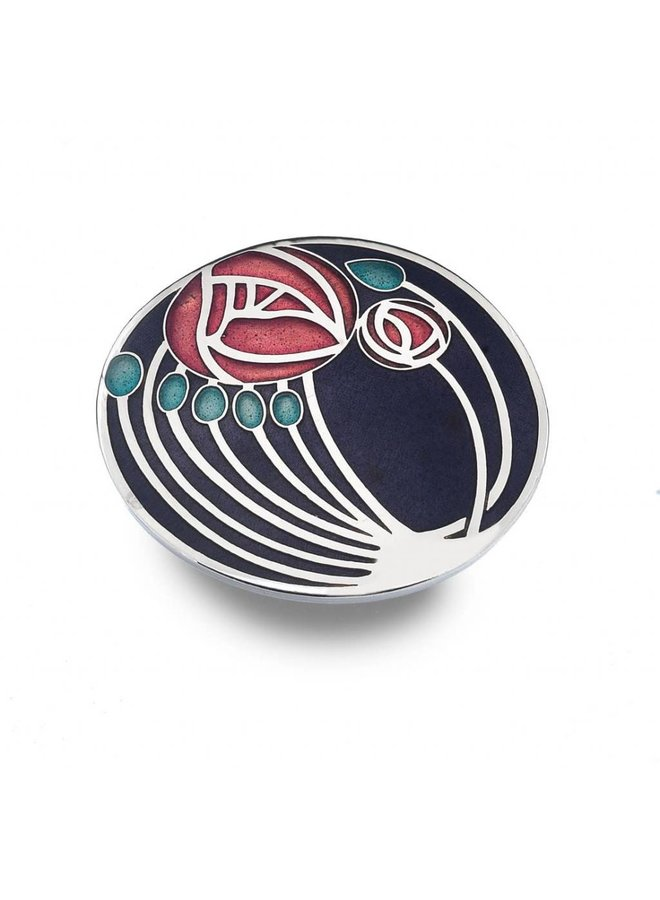 Mackintosh Rose and buds Large Brooch Purple Red
