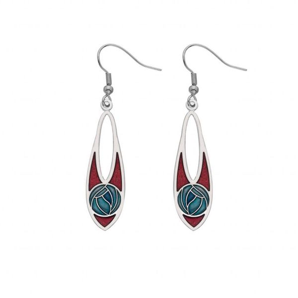 Mackintosh Rose Slim Teardrop Earrings
