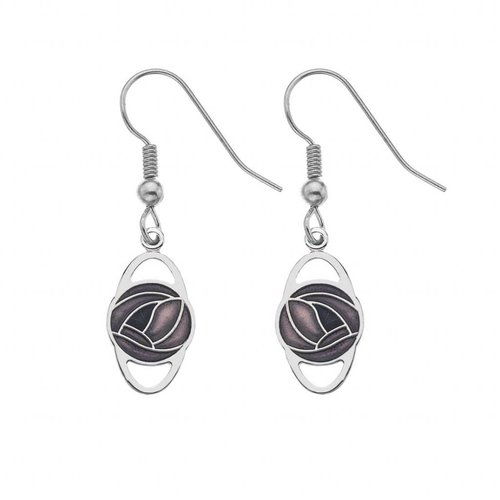 Sea Gems Mackintosh Rose Oval Earrings Purple