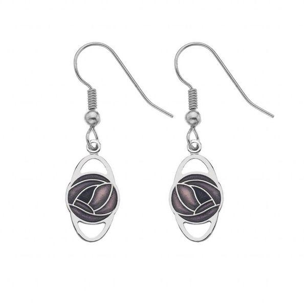 Mackintosh Rose Oval Earrings Purple