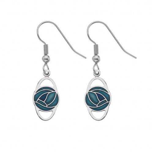 Sea Gems Mackintosh Rose Oval Earrings Turquoise