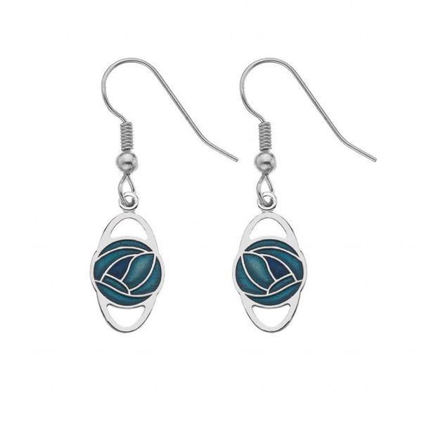 Mackintosh Rose Oval Earrings Turquoise