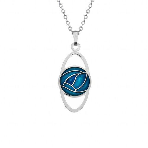 Sea Gems Mackintosh Rose Oval necklace Turquoise