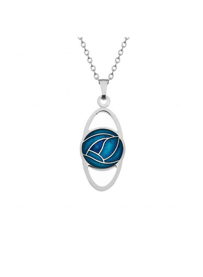 Mackintosh Rose Oval necklace Turquoise