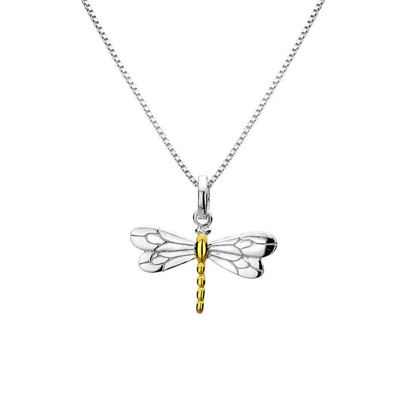 Dragonfly silver and gold plate necklace