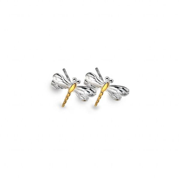 Dragonfly silver and gold plate stud earrings