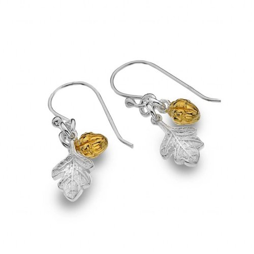 Sea Gems Acorn silver and gold plate earrings