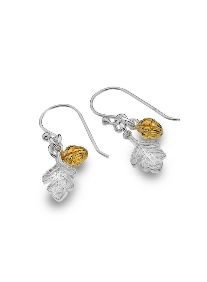 Acorn silver and gold plate earrings