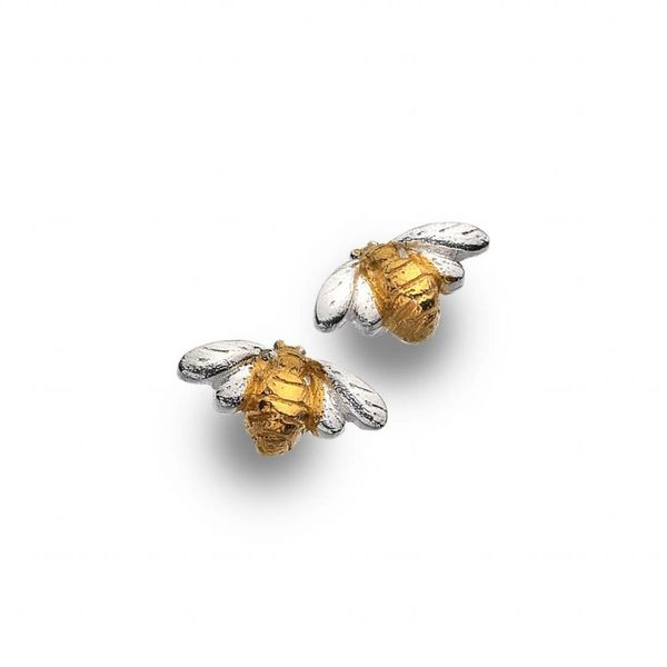 Bee silver and gold plate stud earrings