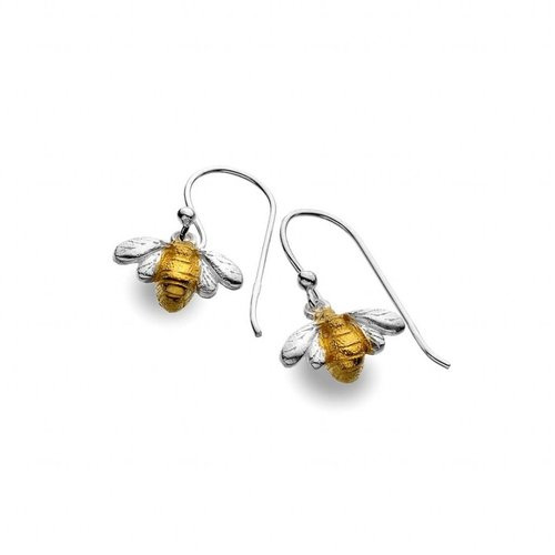 Sea Gems Bee silver and gold plate earrings