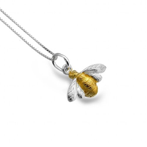 Sea Gems Bee silver and gold plate necklace