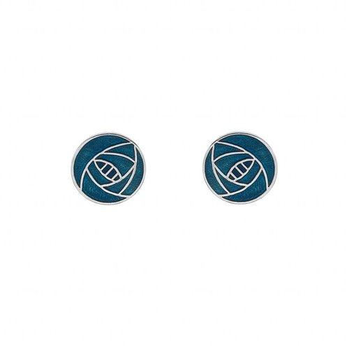 Sea Gems Mackintosh Rose round stud  earings turquoise
