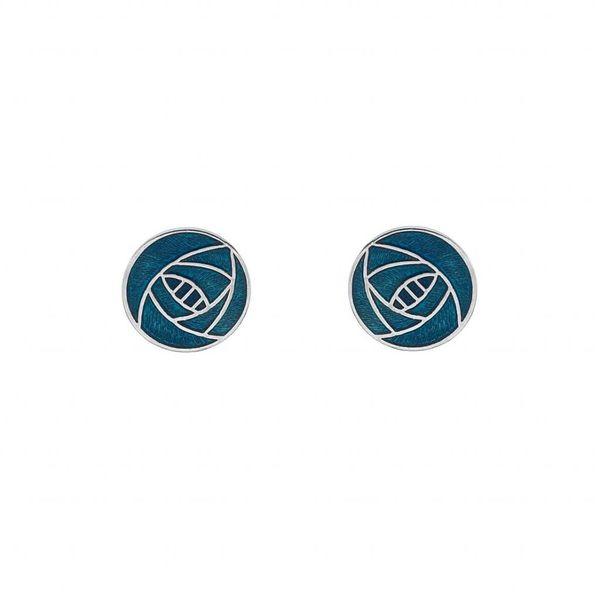 Mackintosh Rose round stud  earings turquoise