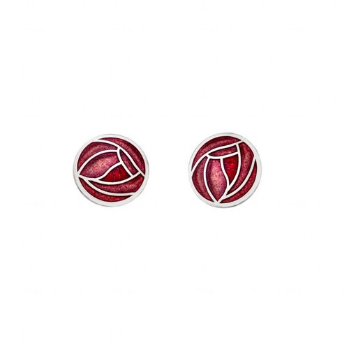 Sea Gems Mackintosh Rose stud  earings red
