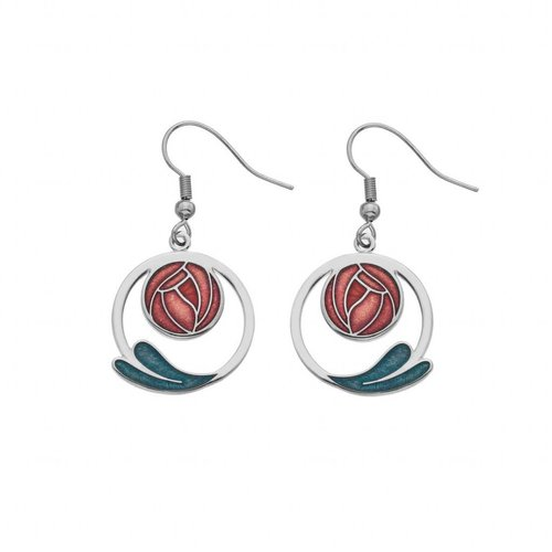 Sea Gems Mackintosh Rose and coil earings red