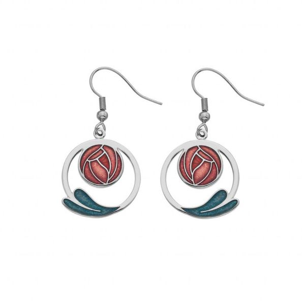 Mackintosh Rose and coil earings red