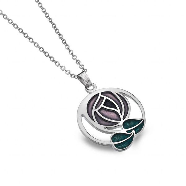 Mackintosh Rose and coil necklace purple