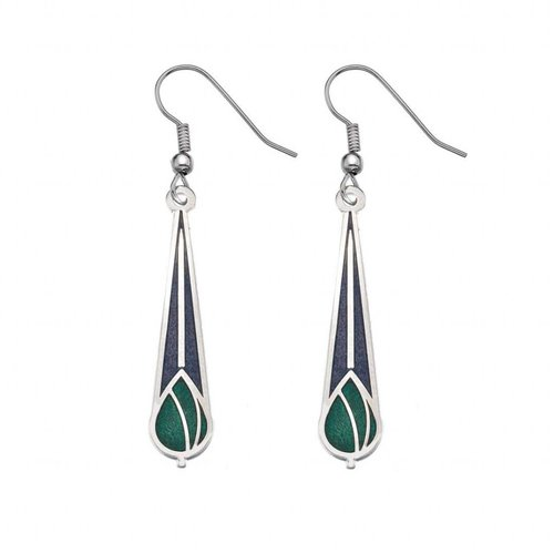 Sea Gems Mackintosh Rose bud earrings purple green