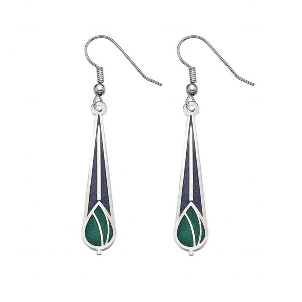 Mackintosh Rose bud earrings purple green
