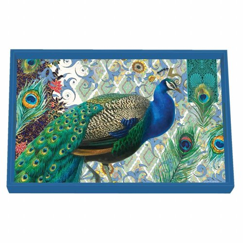 Michel Design Works Peacock Vanity Decoupage Wooden Tray
