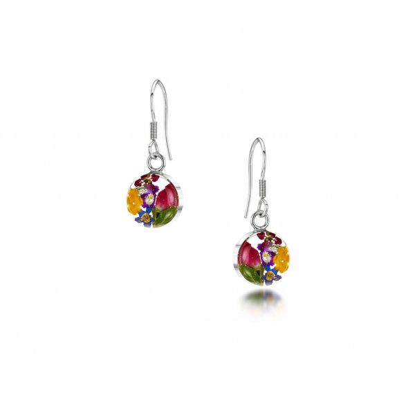 Round small mixed flower with yel. drop earrings silver