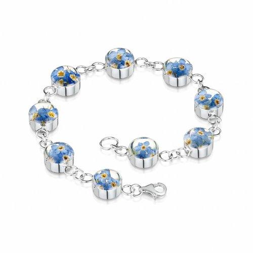 Shrieking Violet Rundes Vergissmeinnicht Armband Silber 9 Abschnitte
