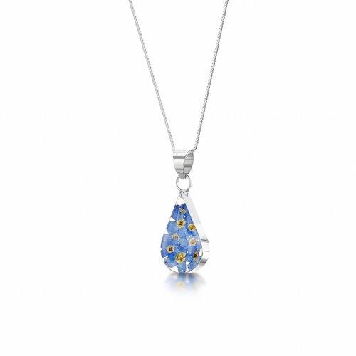 Shrieking Violet Teardrop forgetmenot pendant silver 2