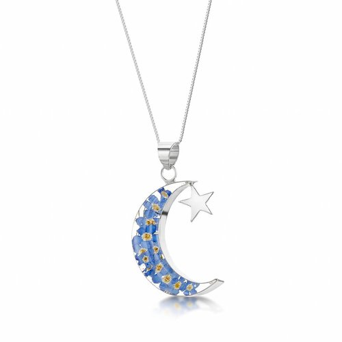 Shrieking Violet Moon and Star forgetmenot pendant silver